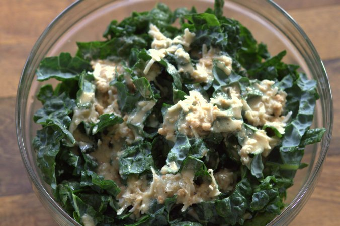Kale Salad with Cashew Butter Vinaigrette | www.thebahamallama.com